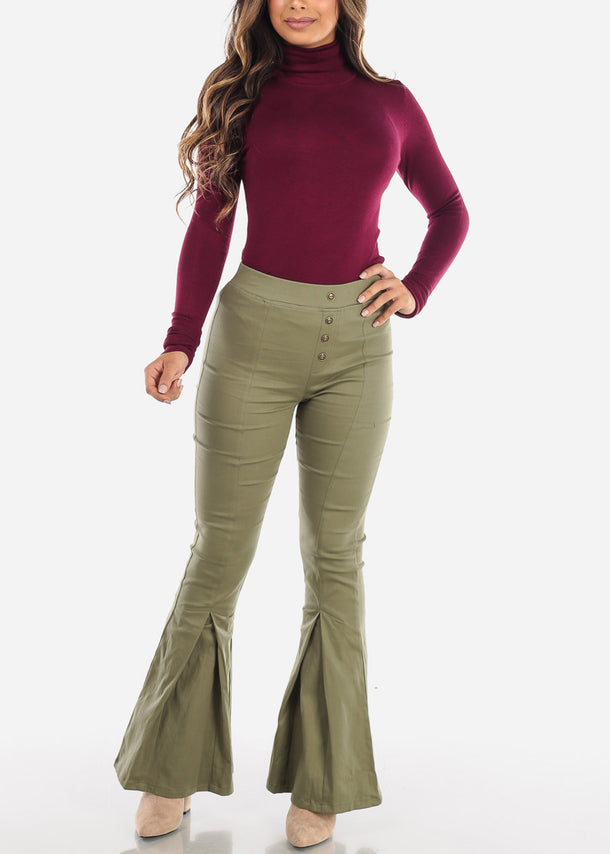 High Rise Olive Bell Bottom Pants