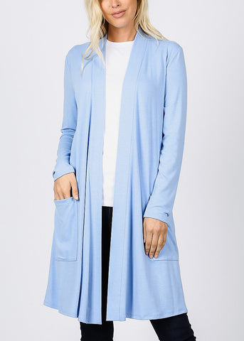 Spring Blue Open Front Maxi Cardigan
