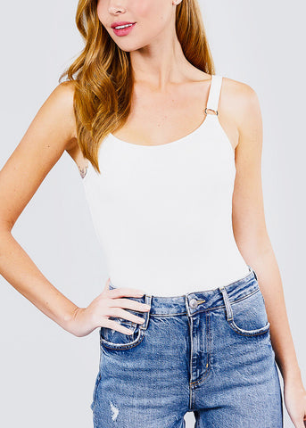 Image of White Ribbed Cami Bodysuit