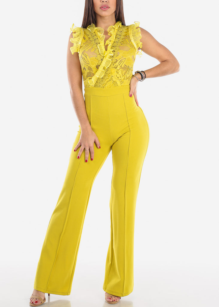 Yellow Ruffle Trim Jumpsuit