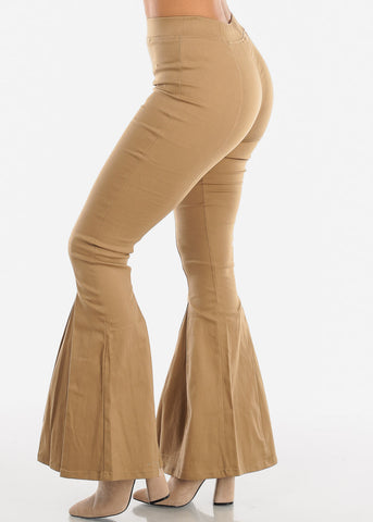 High Rise Khaki Bell Bottom Pants