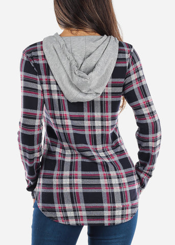 Image of Navy & Pink Plaid Flannel Hoodie