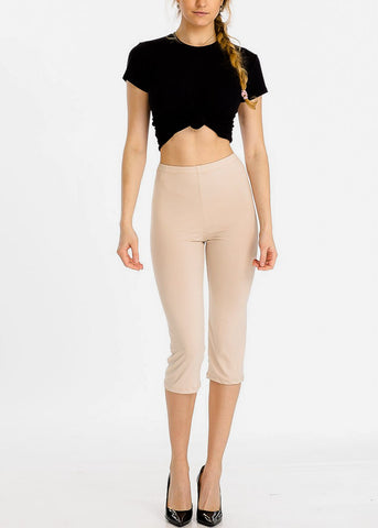 Pull On Khaki Capri Leggings