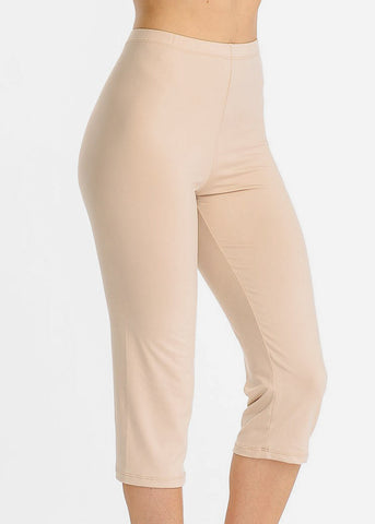 Image of Pull On Khaki Capri Leggings