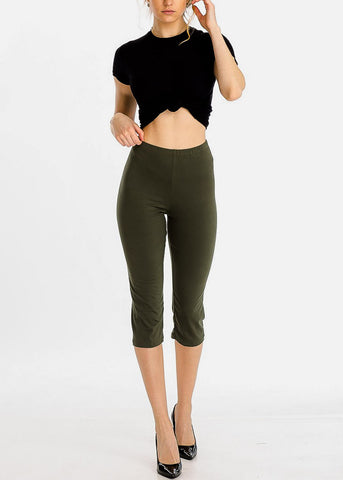 Image of Pull On Olive Capri Leggings