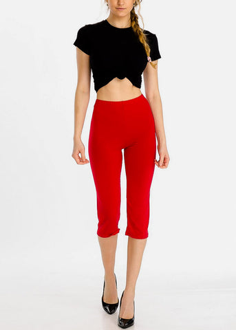 Pull On Red Capri Leggings