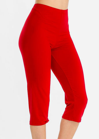Image of Pull On Red Capri Leggings
