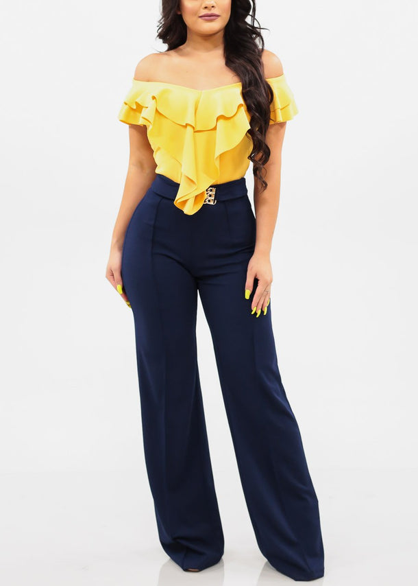 Ruffled Off Shoulder Yellow Top