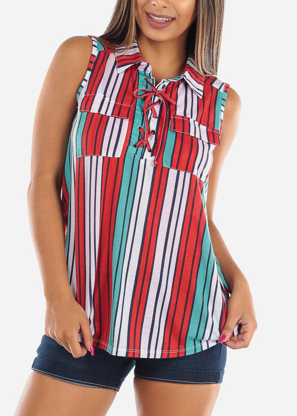 Women's Junior Ladies Casual Vacation Beach Multi Color Stripe Cute Top
