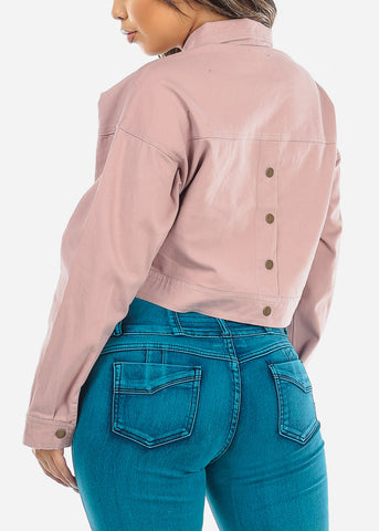 Image of Mauve Button-Up Cropped Denim Jacket