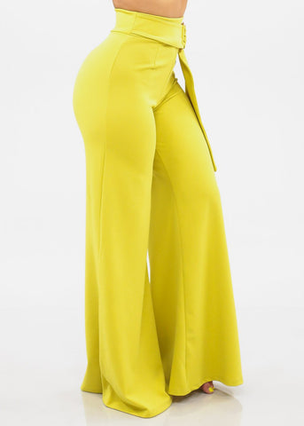 Image of Women's Junior Ladies Sexy Stylish Elegant High Waisted Wide Legged Palazzo Lime Neon Green Dressy Tall Pants