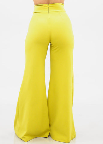 Image of High Rise Flare Leg Yellow Pants