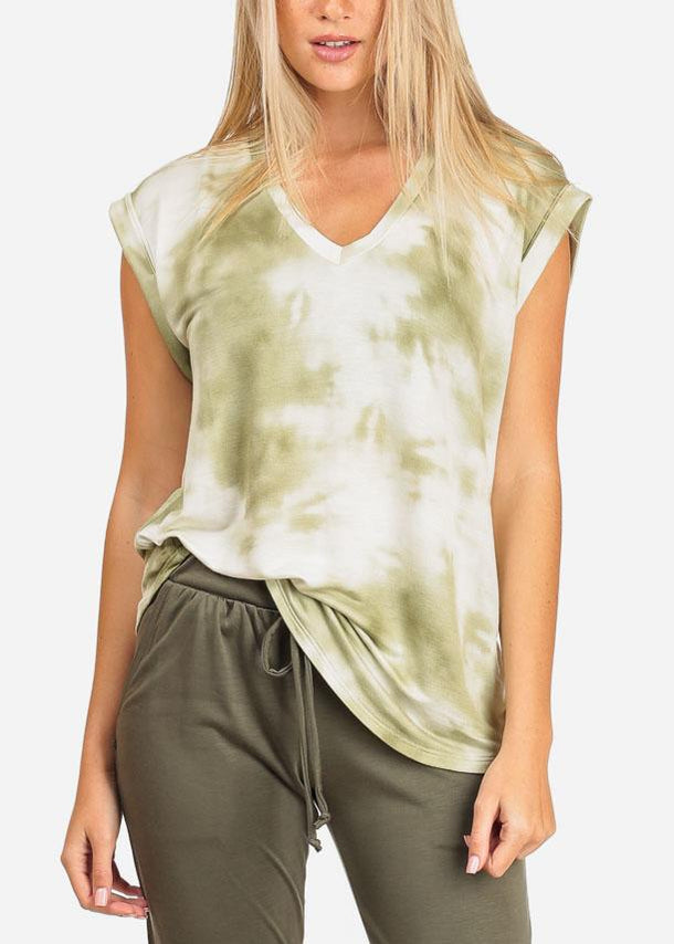 Women's Junior Ladies Casual Cap Sleeve Olive And White Tie Dye Stretchy Soft Comfy Tunic Top