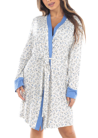 Image of Long Sleeve Open Front Tie Front White Floral Print Sleepwear Robe