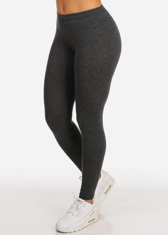 Essential Mid Rise Stretchy Charcoal Leggings