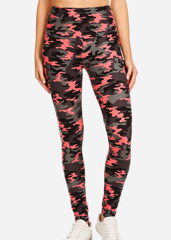 Activewear Pink & Grey Camo Leggings