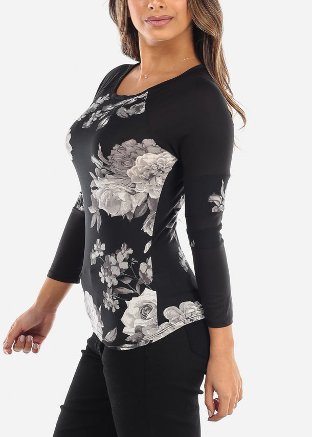 Casual Black Floral Top