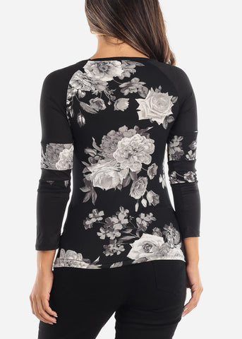 Image of Casual Black Floral Top