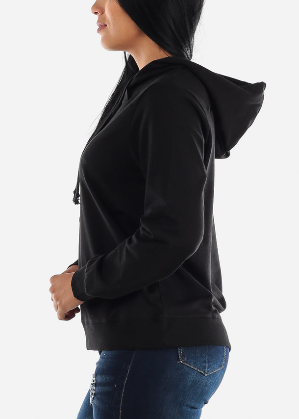 Black Long Sleeve Hooded Sweatshirt