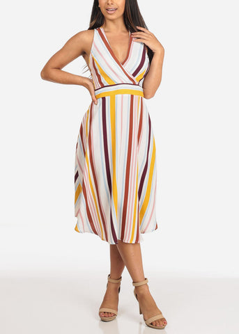 Multi Color Striped Halter Midi Dress