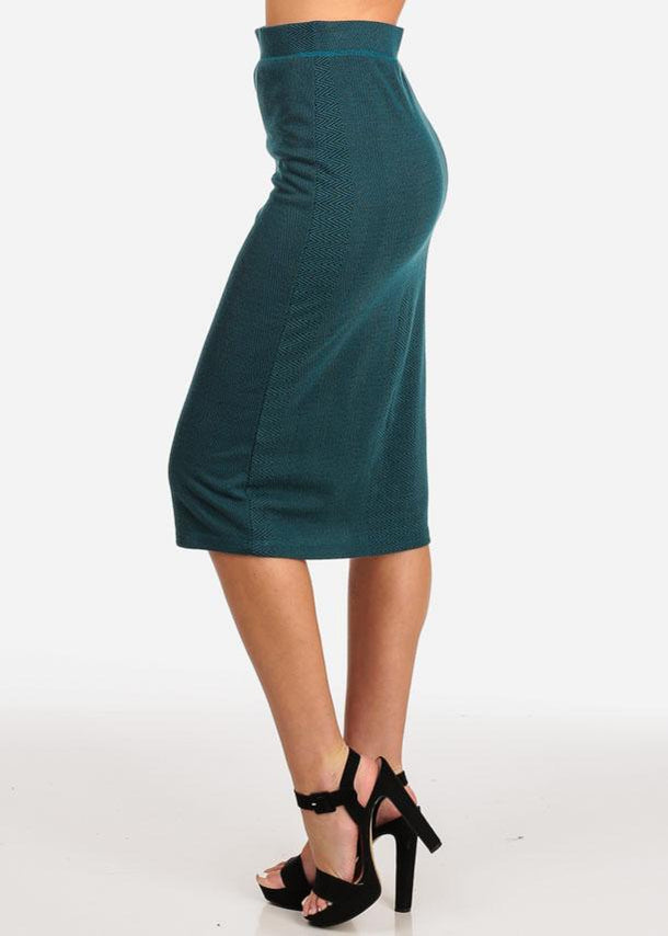 Teal Knit Midi Skirt