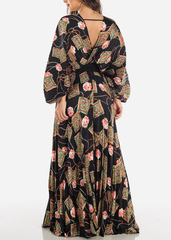 Deep V Neck Floral Maxi Dress