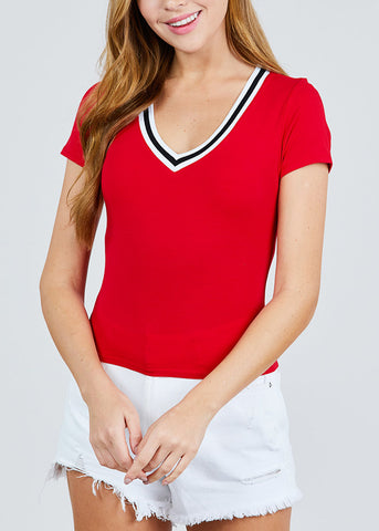 Stripe V Neckline Red Top