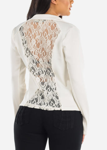 Back Floral Lace Long Sleeve 1 Button Closure Fashionable Blazer