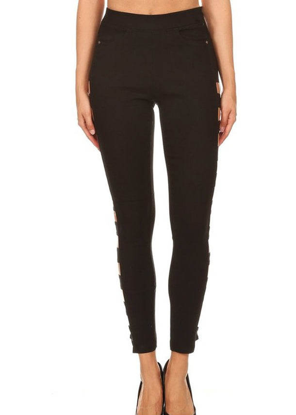 Black Solid Side Cutout Jeggings