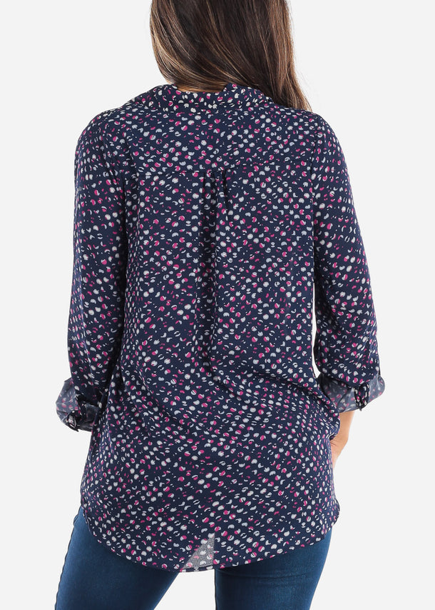 Navy Print Wrap Front Blouse