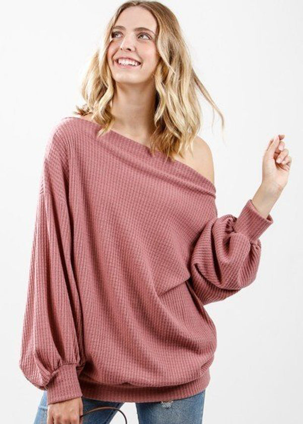 Long Sleeve Mauve Waffle Pullover