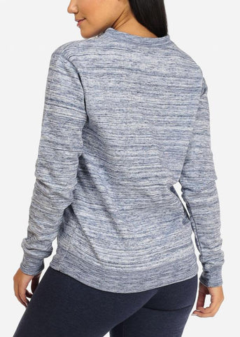 Heather Blue Slit Neck Sweatshirt