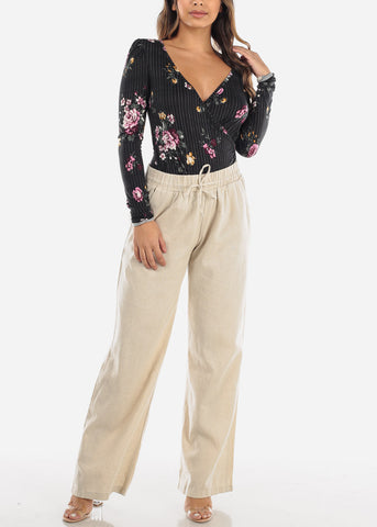 Image of Black Floral Wrap Front Top