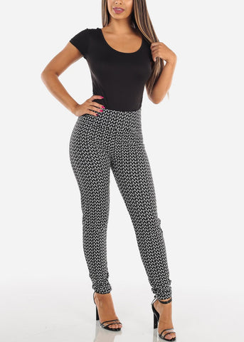 Image of Cute Stylish Pull On High Waisted Black And White Print Skinny Pants Office Business Career Wear Skinny Pants