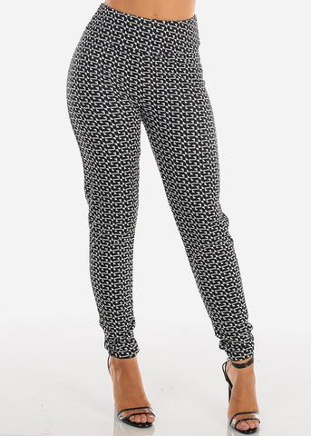 Image of Black & White Print Skinny Pants