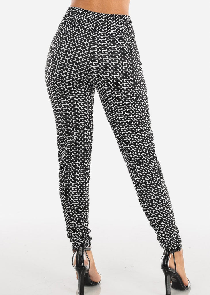 Cute Stylish Pull On High Waisted Black And White Print Skinny Pants Office Business Career Wear Skinny Pants