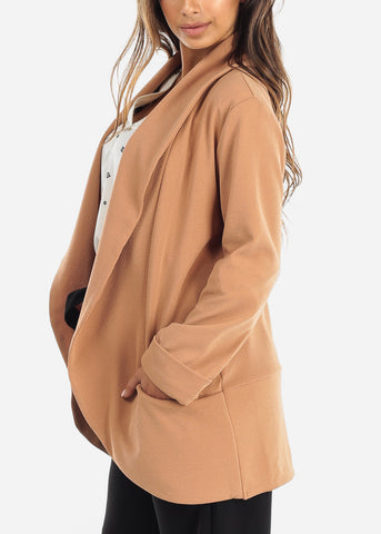 Image of Casual Open Front Camel Blazer