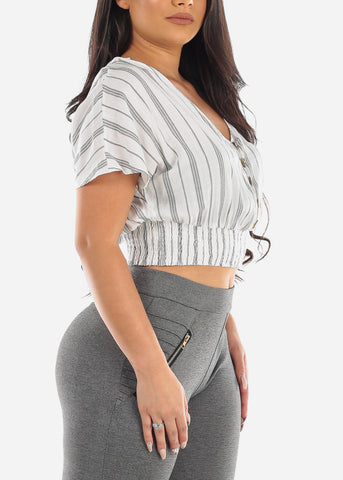 Lightweight Loop Button Up White Stripe Crop Top For Women Junior