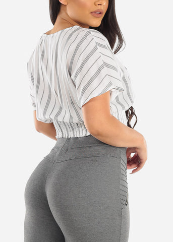 White Pinstripe Crop Top