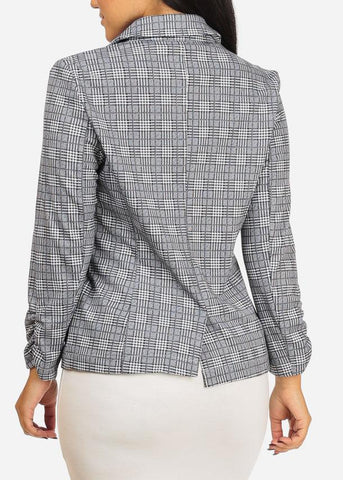 Image of Houndstooth Open Front Grey Blazer