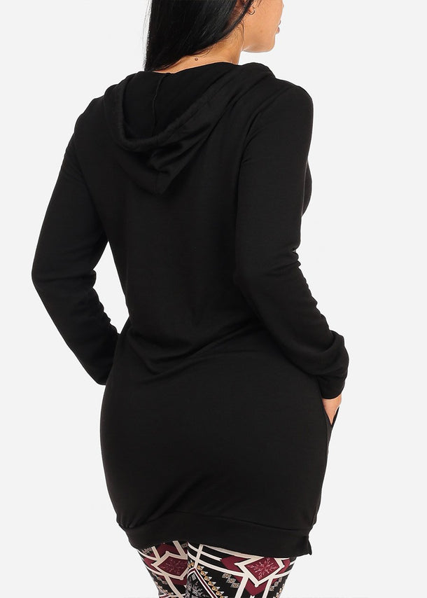 Hooded Black Tunic Sweater