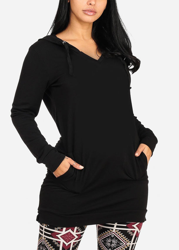 Cozy Warm Long Sleeve Solid Black Long Tunic Sweater For Women Ladies Junior