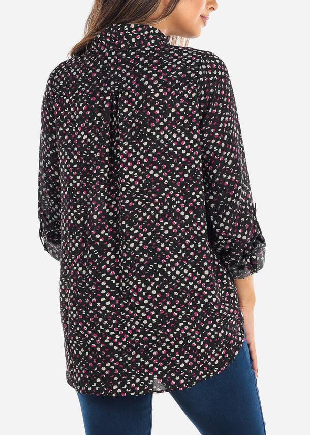 Black Print Wrap Front Blouse