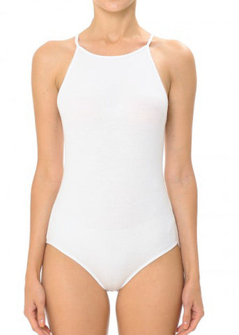 Halter White Ribbed Bodysuit