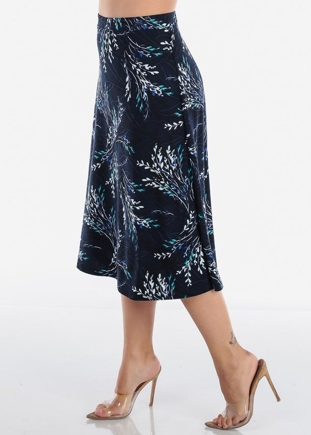 A Line Floral Navy Skirt