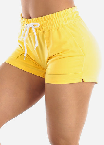 Image of Yellow Drawstring Waist Shorts
