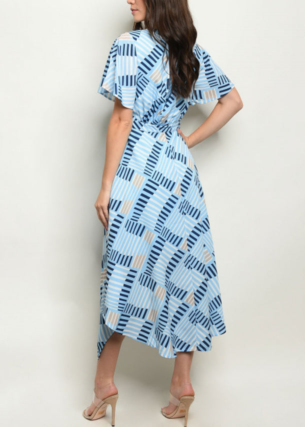 Asymmetrical Hem Printed Lightweight Blue Dress