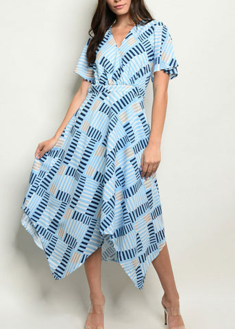 Asymmetrical Hem Printed Blue Dress