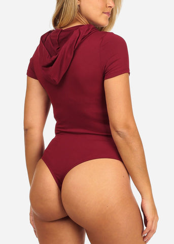 Image of Women's Junior Sext Trendy Basic Burgundy  Stretchy Essential Bodysuit With Hoodie
