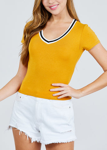 Image of Stripe V Neckline Mustard Top
